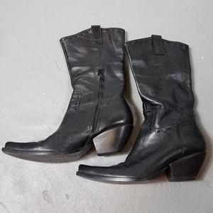 BCBGirls Leather Western Cowboy Boots Black